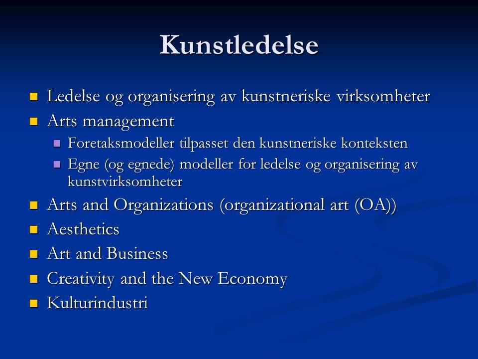 Kunstledelse Ledelse og organisering av kunstneriske virksomheter Ledelse og organisering av kunstneriske virksomheter Arts management Arts management Foretaksmodeller tilpasset den kunstneriske konteksten Foretaksmodeller tilpasset den kunstneriske konteksten Egne (og egnede) modeller for ledelse og organisering av kunstvirksomheter Egne (og egnede) modeller for ledelse og organisering av kunstvirksomheter Arts and Organizations (organizational art (OA)) Arts and Organizations (organizational art (OA)) Aesthetics Aesthetics Art and Business Art and Business Creativity and the New Economy Creativity and the New Economy Kulturindustri Kulturindustri