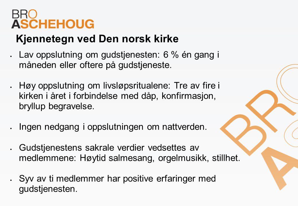 Kjennetegn ved Den norsk kirke  Lav oppslutning om gudstjenesten: 6 % én gang i måneden eller oftere på gudstjeneste.
