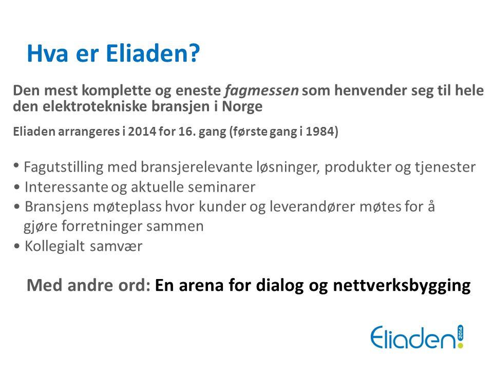 Den mest komplette og eneste fagmessen som henvender seg til hele den elektrotekniske bransjen i Norge Eliaden arrangeres i 2014 for 16. gang (første