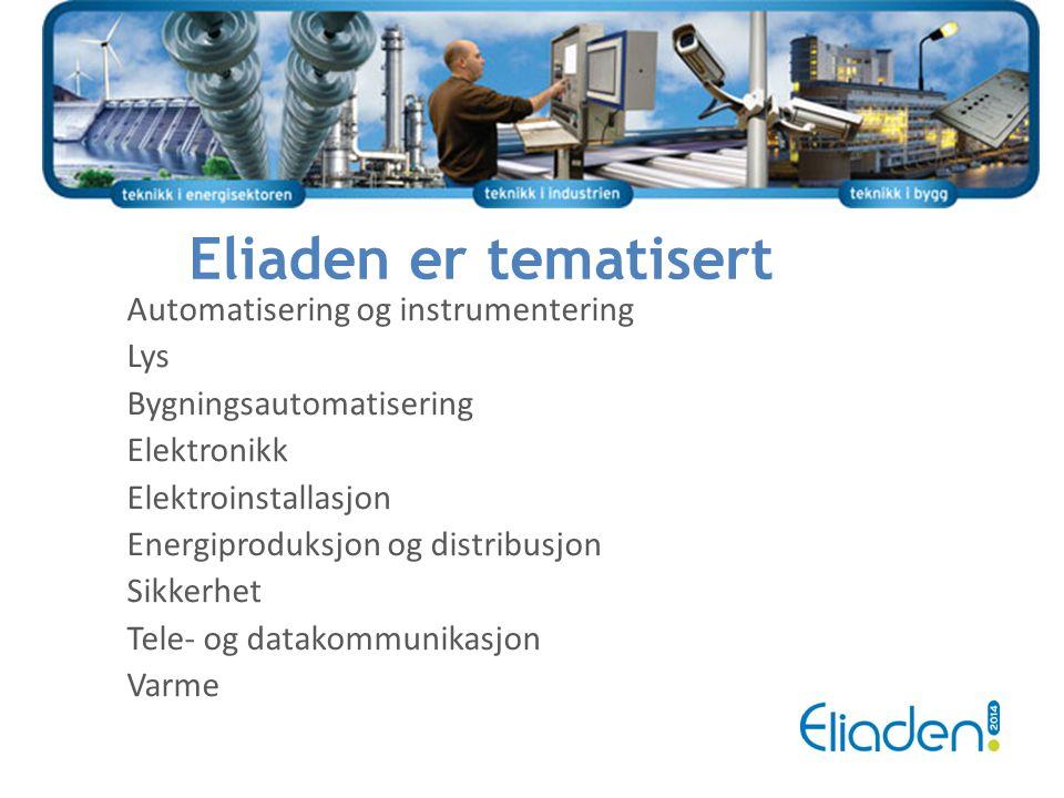 Eliaden er tematisert Automatisering og instrumentering Lys Bygningsautomatisering Elektronikk Elektroinstallasjon Energiproduksjon og distribusjon Si