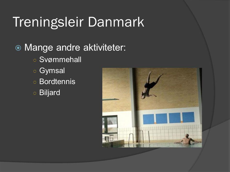 Treningsleir Danmark  Mange andre aktiviteter: ○ Svømmehall ○ Gymsal ○ Bordtennis ○ Biljard