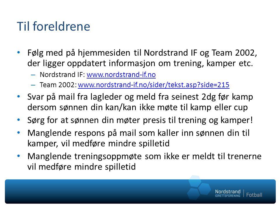 Til foreldrene Følg med på hjemmesiden til Nordstrand IF og Team 2002, der ligger oppdatert informasjon om trening, kamper etc.
