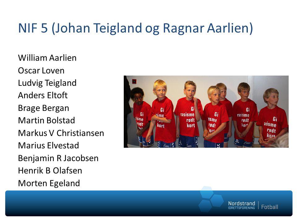 NIF 5 (Johan Teigland og Ragnar Aarlien) William Aarlien Oscar Loven Ludvig Teigland Anders Eltoft Brage Bergan Martin Bolstad Markus V Christiansen M