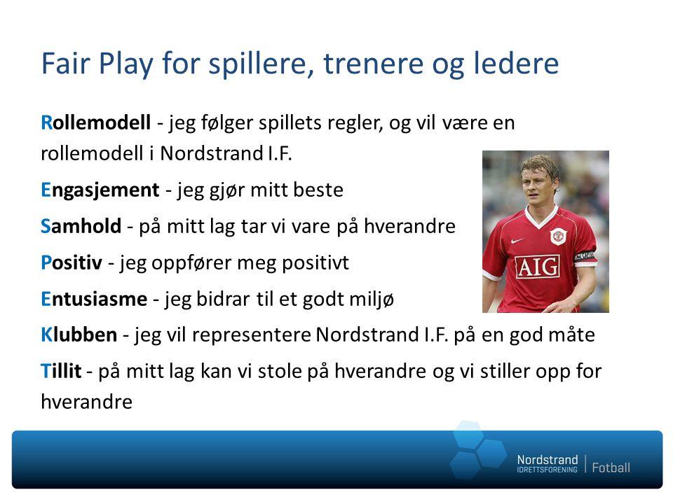 Fair Play for spillere, trenere og ledere Rollemodell - jeg følger spillets regler, og vil være en rollemodell i Nordstrand I.F. Engasjement - jeg gjø