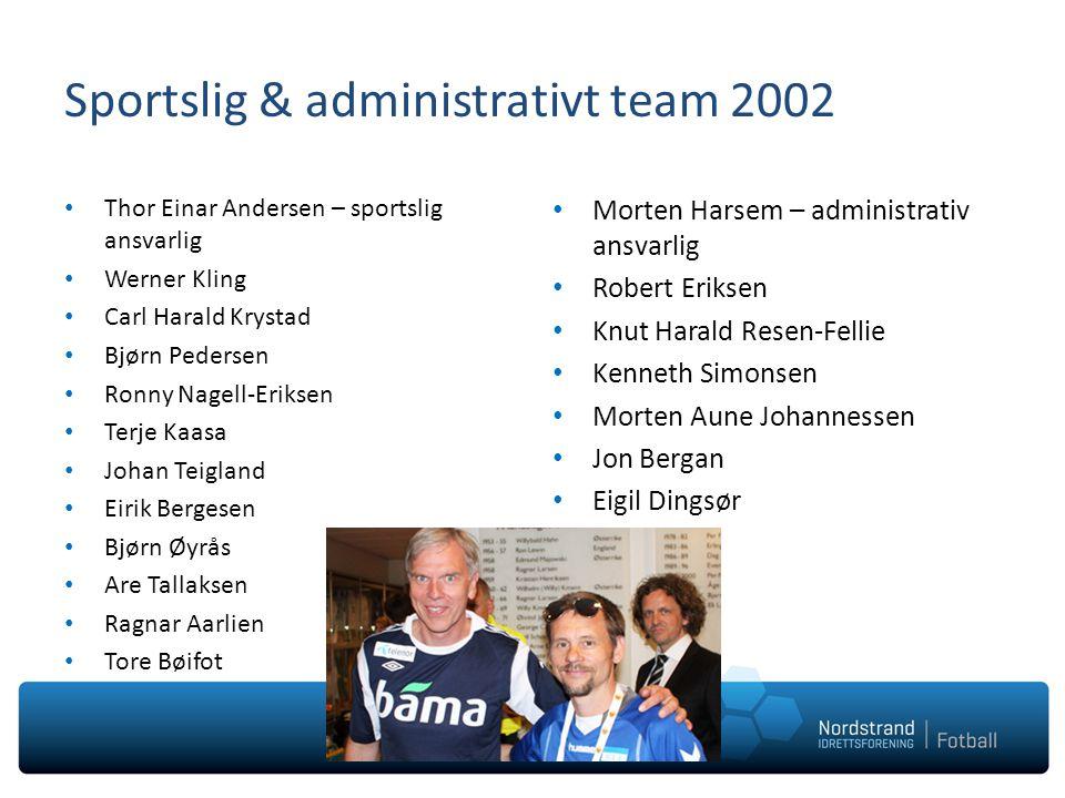 Sportslig & administrativt team 2002 Thor Einar Andersen – sportslig ansvarlig Werner Kling Carl Harald Krystad Bjørn Pedersen Ronny Nagell-Eriksen Te