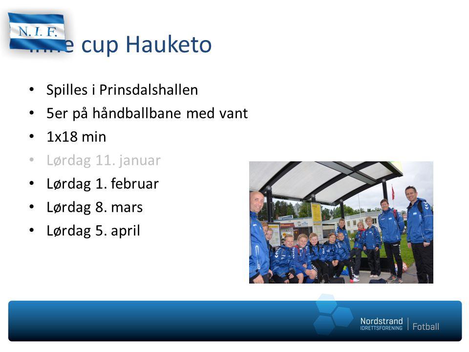 Inne cup Hauketo Spilles i Prinsdalshallen 5er på håndballbane med vant 1x18 min Lørdag 11. januar Lørdag 1. februar Lørdag 8. mars Lørdag 5. april