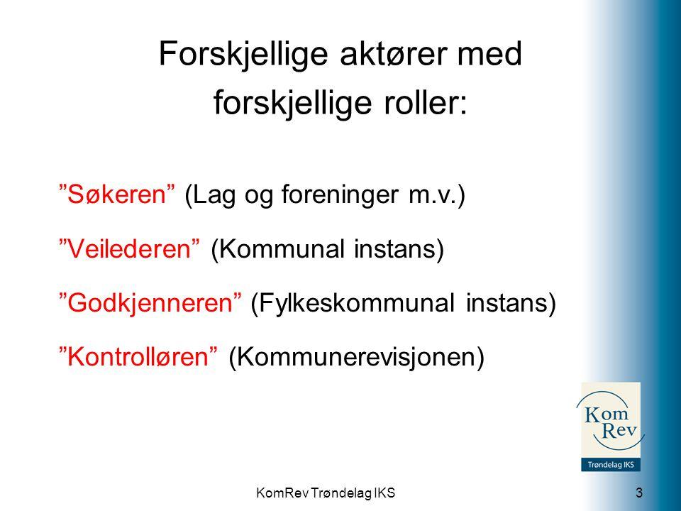 """KomRev Trøndelag IKS Forskjellige aktører med forskjellige roller: """"Søkeren"""" (Lag og foreninger m.v.) """"Veilederen"""" (Kommunal instans) """"Godkjenneren"""" ("""