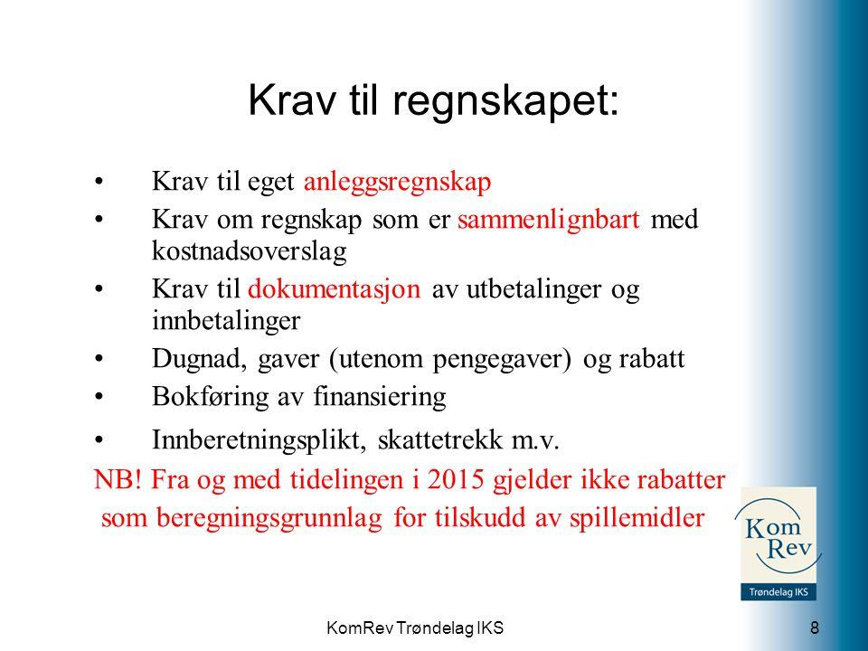KomRev Trøndelag IKS Krav til regnskapet: Krav til eget anleggsregnskap Krav om regnskap som er sammenlignbart med kostnadsoverslag Krav til dokumenta