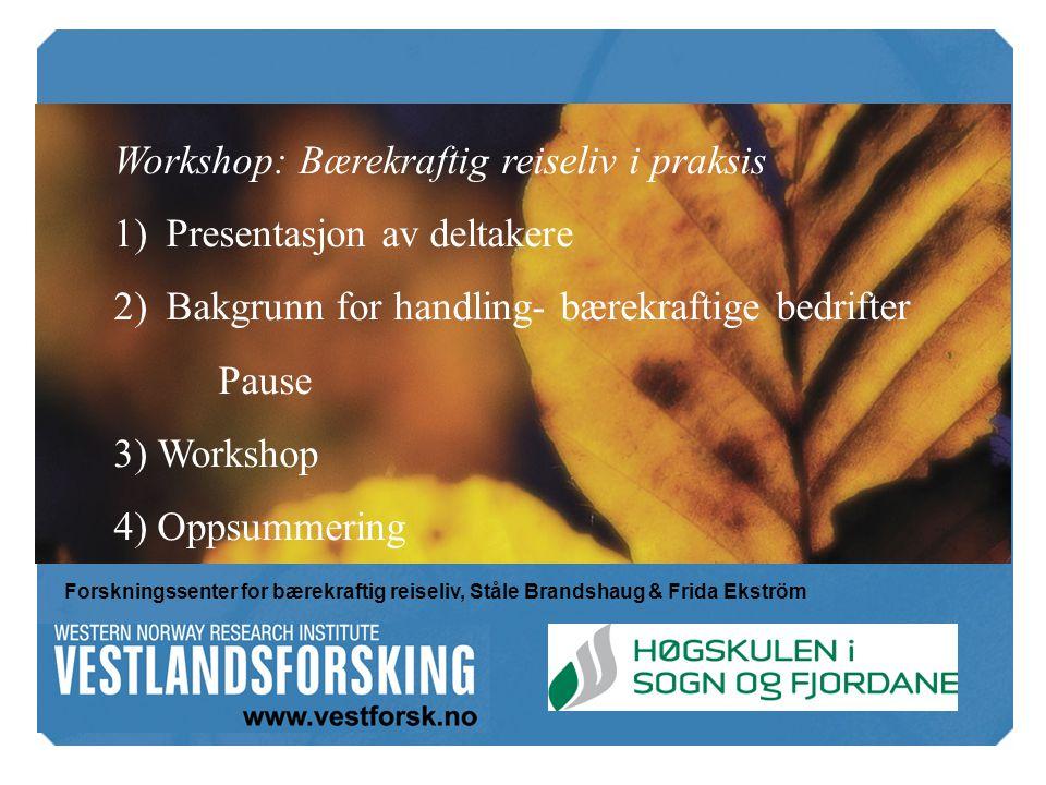 Workshop: Bærekraftig reiseliv i praksis 1)Presentasjon av deltakere 2)Bakgrunn for handling- bærekraftige bedrifter Pause 3) Workshop 4) Oppsummering