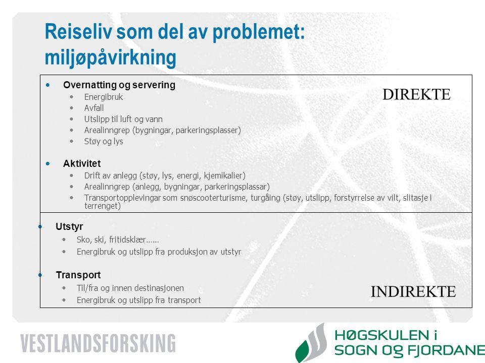 www.vestforsk.no Reiseliv som del av problemet: miljøpåvirkning Overnatting og servering Energibruk Avfall Utslipp til luft og vann Arealinngrep (bygn