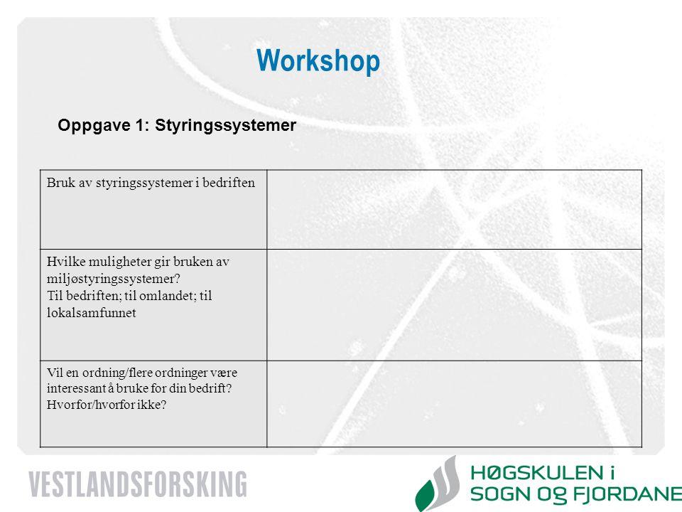 www.vestforsk.no Workshop Oppgave 1: Styringssystemer Bruk av styringssystemer i bedriften Hvilke muligheter gir bruken av miljøstyringssystemer? Til