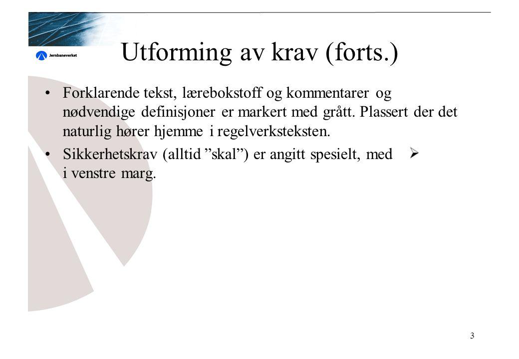 3 Utforming av krav (forts.) Forklarende tekst, lærebokstoff og kommentarer og nødvendige definisjoner er markert med grått.