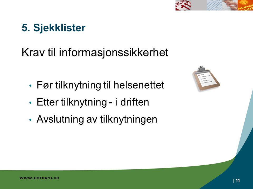 www.normen.no | 11 5. Sjekklister Krav til informasjonssikkerhet Før tilknytning til helsenettet Etter tilknytning - i driften Avslutning av tilknytni