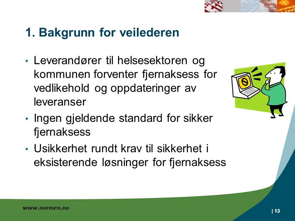 www.normen.no | 13 1. Bakgrunn for veilederen Leverandører til helsesektoren og kommunen forventer fjernaksess for vedlikehold og oppdateringer av lev