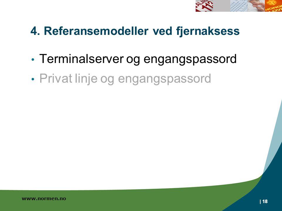 www.normen.no | 18 4. Referansemodeller ved fjernaksess Terminalserver og engangspassord Privat linje og engangspassord