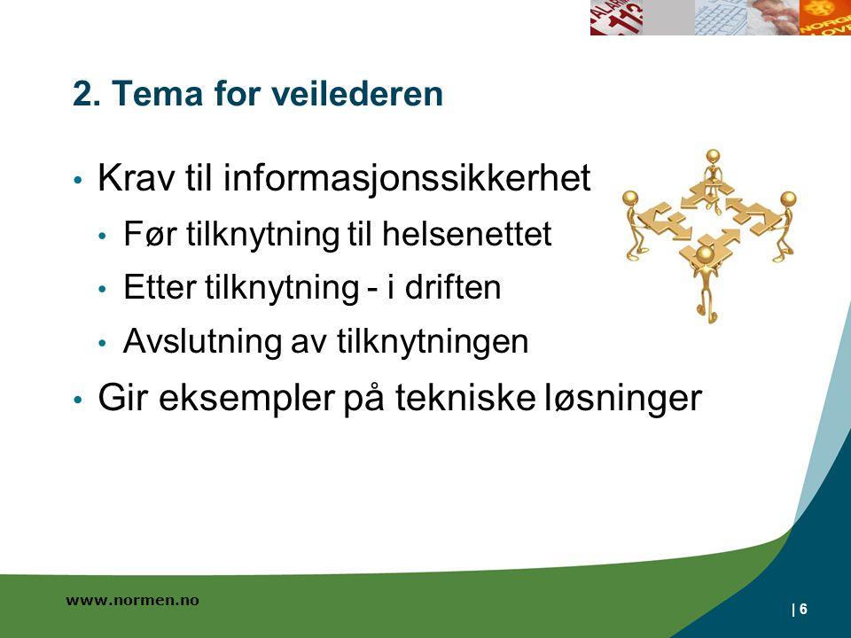 www.normen.no | 6 2. Tema for veilederen Krav til informasjonssikkerhet Før tilknytning til helsenettet Etter tilknytning - i driften Avslutning av ti