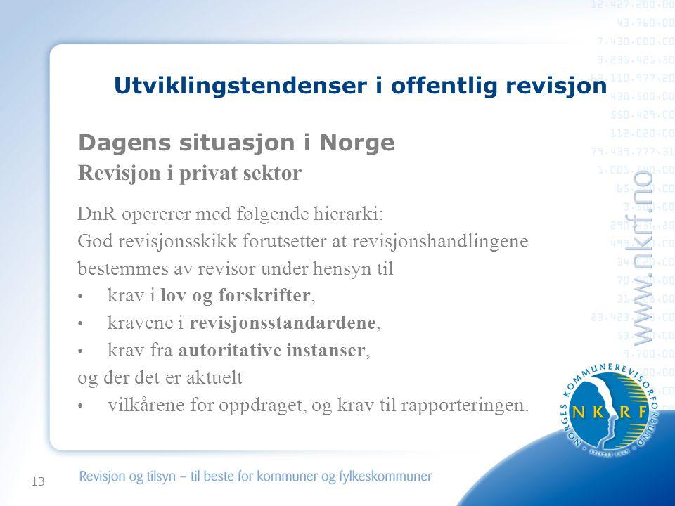 13 Utviklingstendenser i offentlig revisjon Dagens situasjon i Norge Revisjon i privat sektor DnR opererer med følgende hierarki: God revisjonsskikk f