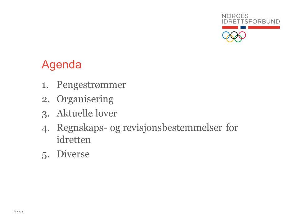Side 2 Agenda 1.Pengestrømmer 2.Organisering 3.Aktuelle lover 4.Regnskaps- og revisjonsbestemmelser for idretten 5.Diverse