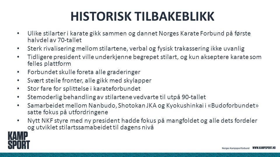 HISTORISK TILBAKEBLIKK Ulike stilarter i karate gikk sammen og dannet Norges Karate Forbund på første halvdel av 70-tallet Sterk rivalisering mellom s