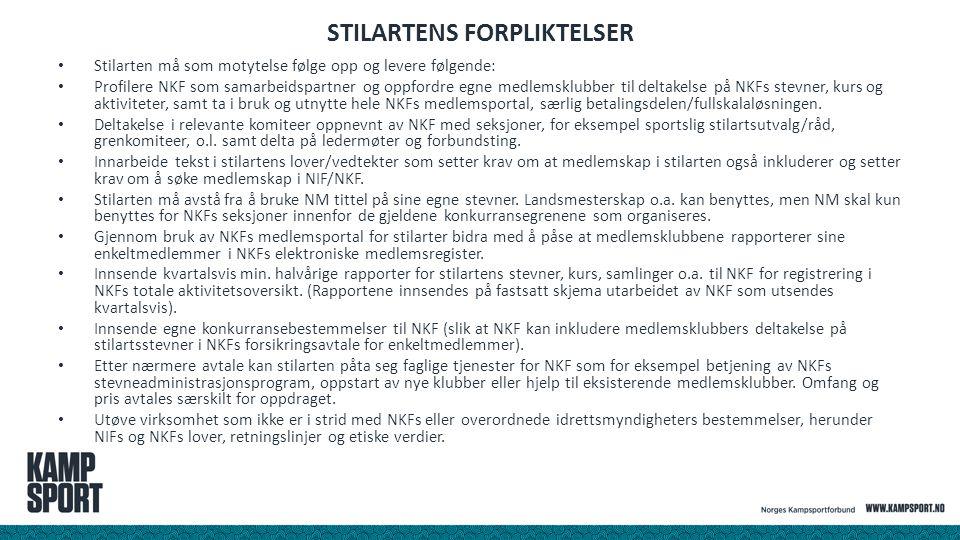 STILARTENS FORPLIKTELSER Stilarten må som motytelse følge opp og levere følgende: Profilere NKF som samarbeidspartner og oppfordre egne medlemsklubber