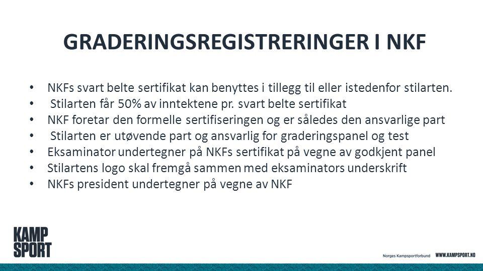 GRADERINGSREGISTRERINGER I NKF NKFs svart belte sertifikat kan benyttes i tillegg til eller istedenfor stilarten. Stilarten får 50% av inntektene pr.