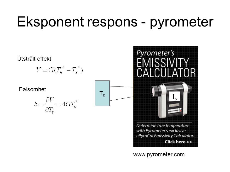 Eksponent respons - pyrometer www.pyrometer.com TbTb TsTs Utstrålt effekt Følsomhet