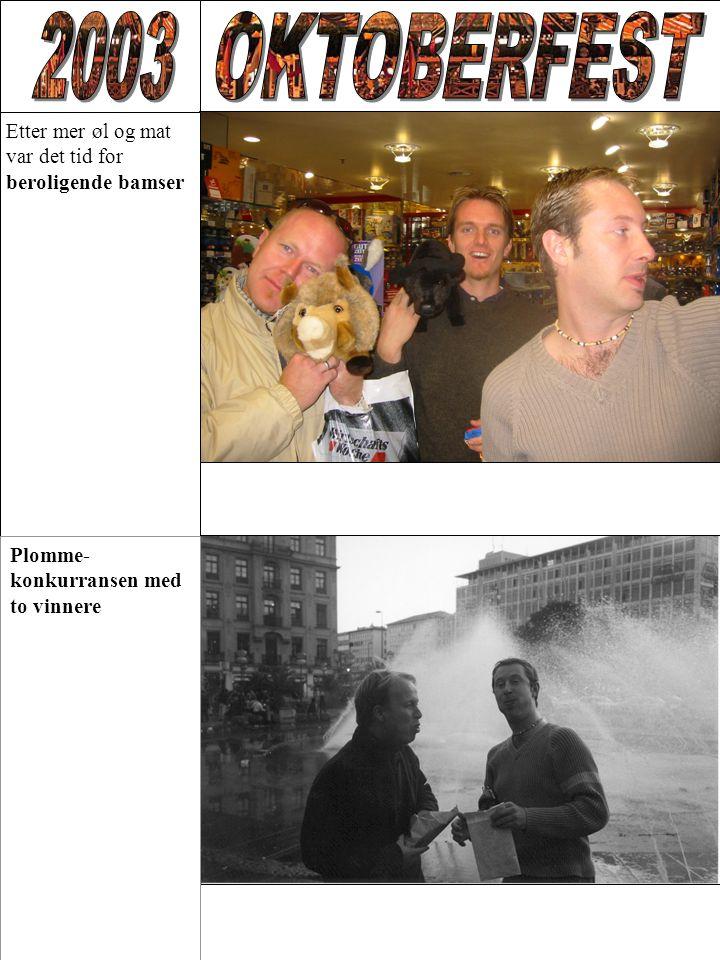 Etter mer øl og mat var det tid for beroligende bamser Plomme- konkurransen med to vinnere