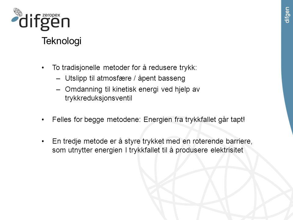 difgen Teknologi To tradisjonelle metoder for å redusere trykk: –Utslipp til atmosfære / åpent basseng –Omdanning til kinetisk energi ved hjelp av try