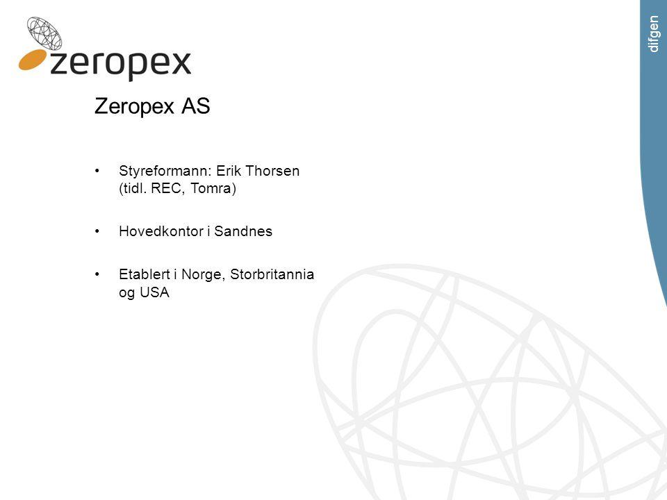 difgen Zeropex AS Styreformann: Erik Thorsen (tidl. REC, Tomra) Hovedkontor i Sandnes Etablert i Norge, Storbritannia og USA