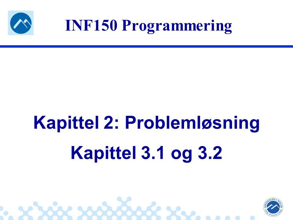 Jæger: Robuste og sikre systemer INF150 Programmering Kapittel 2: Problemløsning Kapittel 3.1 og 3.2