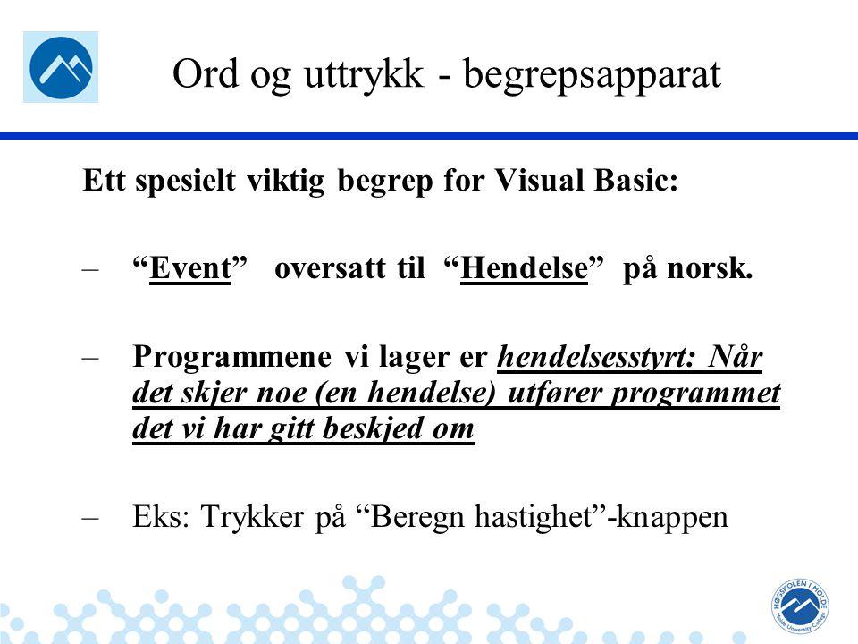 Jæger: Robuste og sikre systemer Ord og uttrykk - begrepsapparat Ett spesielt viktig begrep for Visual Basic: – Event oversatt til Hendelse på norsk.