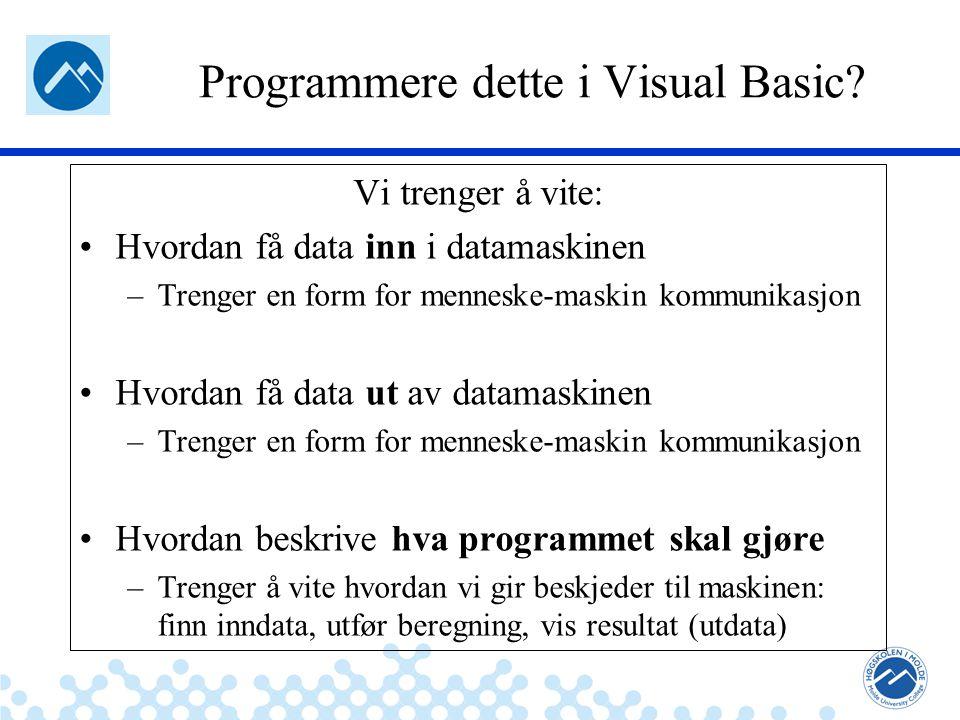 Jæger: Robuste og sikre systemer Programmere dette i Visual Basic.