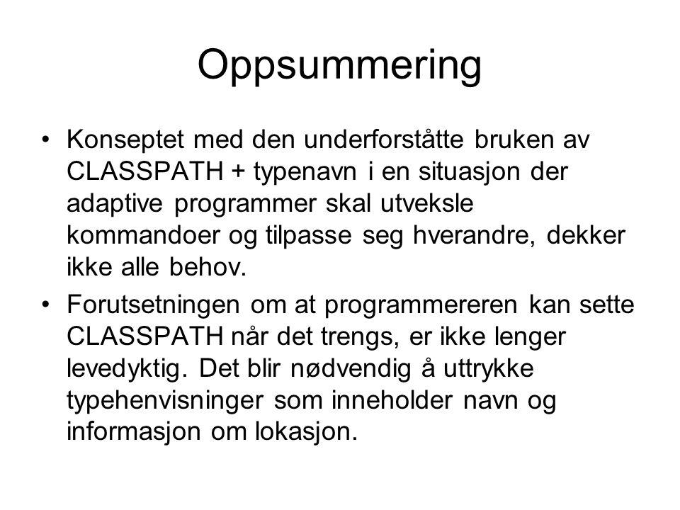 Oppsummering Konseptet med den underforståtte bruken av CLASSPATH + typenavn i en situasjon der adaptive programmer skal utveksle kommandoer og tilpasse seg hverandre, dekker ikke alle behov.