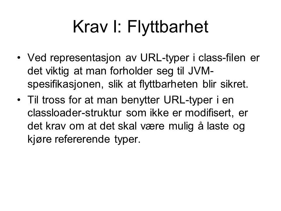 Krav I: Flyttbarhet Ved representasjon av URL-typer i class-filen er det viktig at man forholder seg til JVM- spesifikasjonen, slik at flyttbarheten blir sikret.