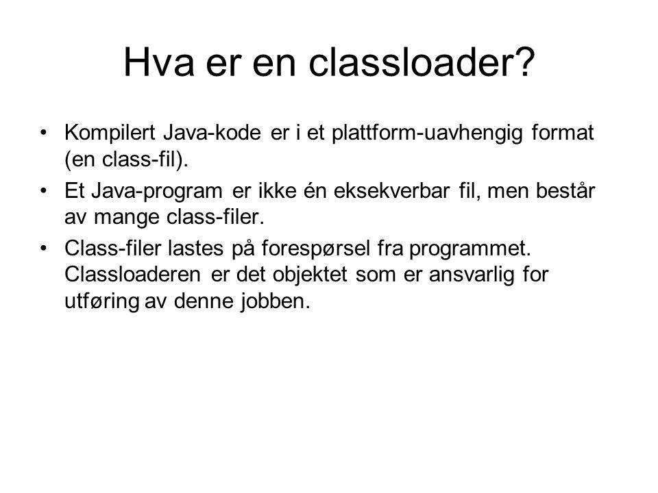 Standard classloading-struktur i J2SE Bootstrap classloader | Standard extensions classloader | System classloader | - - - - - - - - - - Network classloader