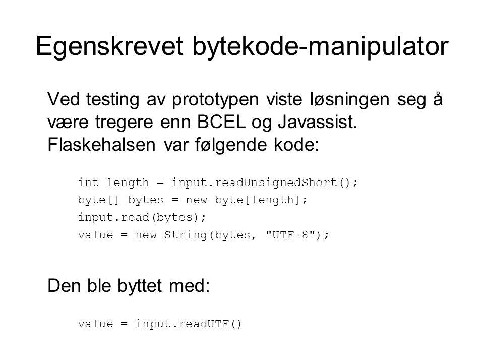 Egenskrevet bytekode-manipulator Ved testing av prototypen viste løsningen seg å være tregere enn BCEL og Javassist.