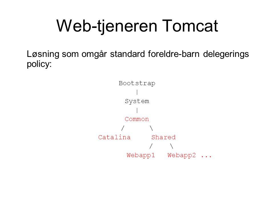 Web-tjeneren Tomcat Løsning som omgår standard foreldre-barn delegerings policy: Bootstrap | System | Common / \ Catalina Shared / \ Webapp1 Webapp2...