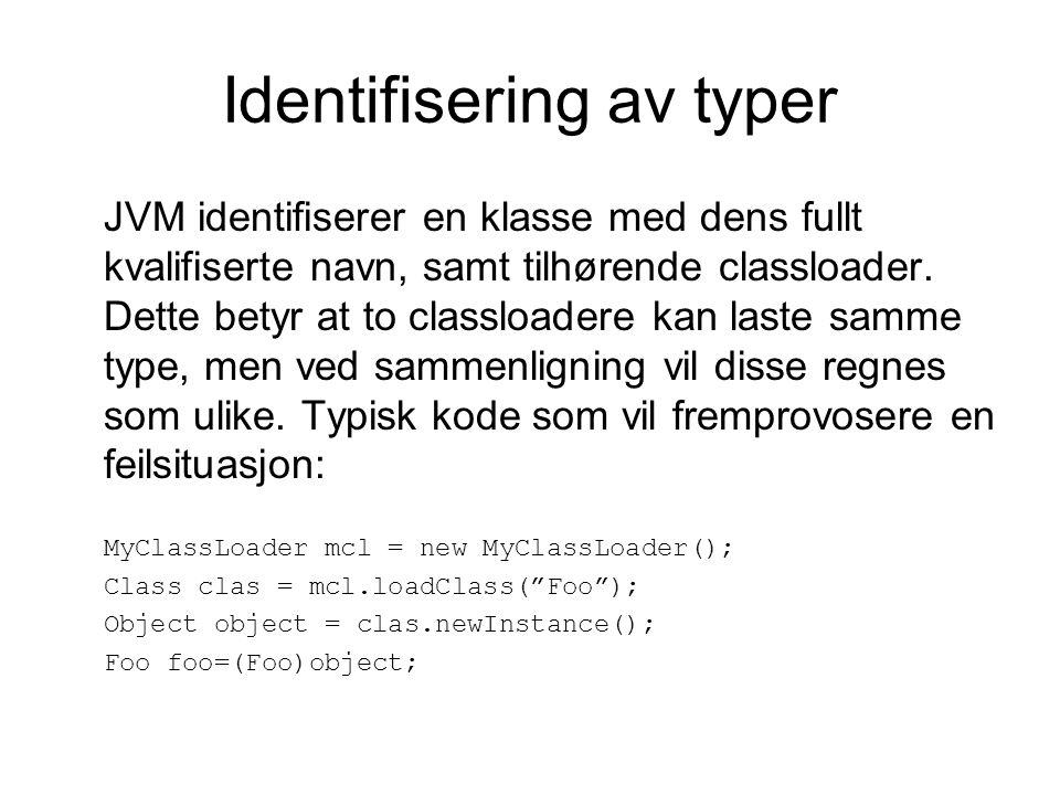 Identifisering av typer JVM identifiserer en klasse med dens fullt kvalifiserte navn, samt tilhørende classloader.