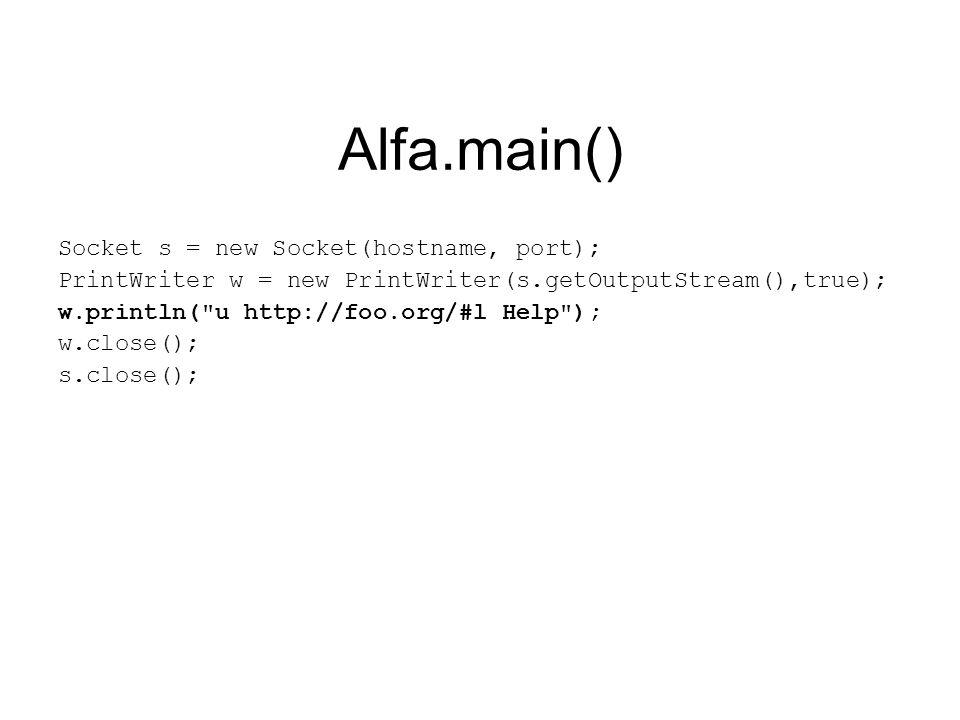 Bravo.interpret() URLClassLoader ucl = null; String[] lines = input.split( # ); for(int i=0; i<lines.length; i++){ char command = lines[i].charAt(0); String param = lines[i].split( )[1]; if(command == u ){ ucl = new URLClassLoader(new URL[]{new URL(param)}); }else if(command == l ){ Class clas = null; if(ucl != null)clas = ucl.loadClass(param); else clas = Class.forName(param); Object o = clas.newInstance(); }
