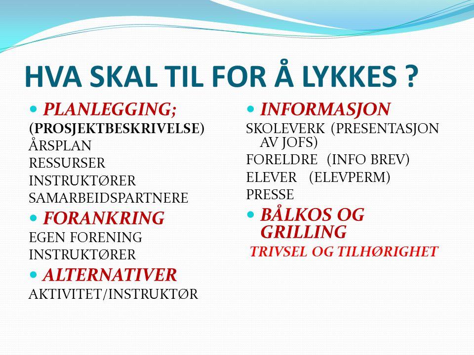 HVA SKAL TIL FOR Å LYKKES .