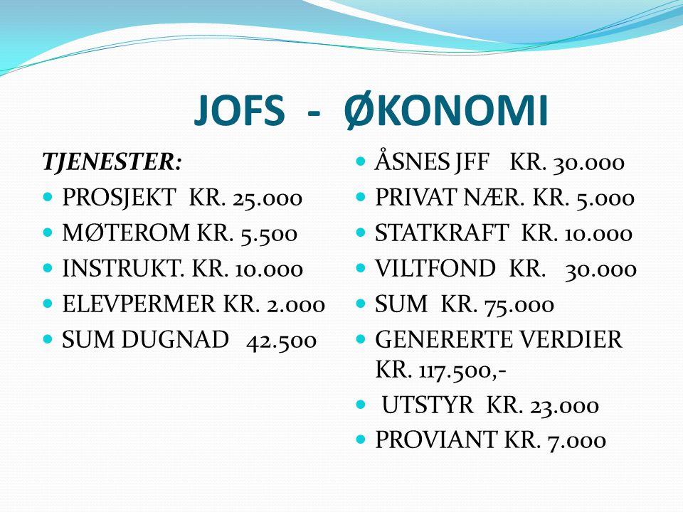 JOFS - ØKONOMI TJENESTER: PROSJEKT KR.25.000 MØTEROM KR.