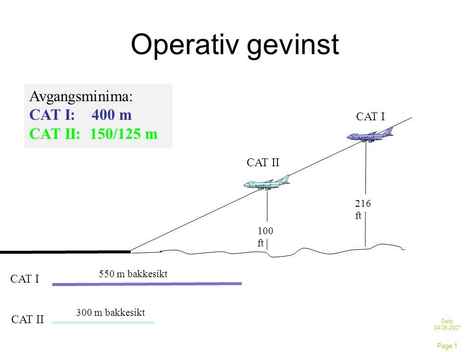 Operativ gevinst Date: 04.05.2007 Page 1 Avgangsminima: CAT I: 400 m CAT II: 150/125 m 100 ft CAT II 216 ft CAT I 300 m bakkesikt CAT II 550 m bakkesikt CAT I