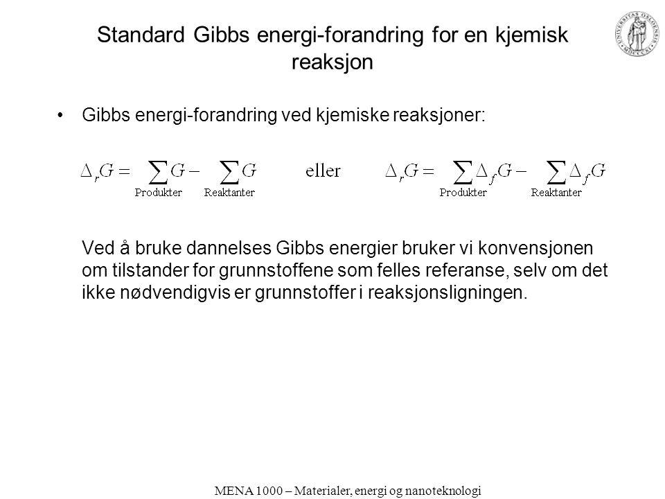 MENA 1000 – Materialer, energi og nanoteknologi Standard Gibbs energi-forandring for en kjemisk reaksjon Gibbs energi-forandring ved kjemiske reaksjoner: Ved å bruke dannelses Gibbs energier bruker vi konvensjonen om tilstander for grunnstoffene som felles referanse, selv om det ikke nødvendigvis er grunnstoffer i reaksjonsligningen.