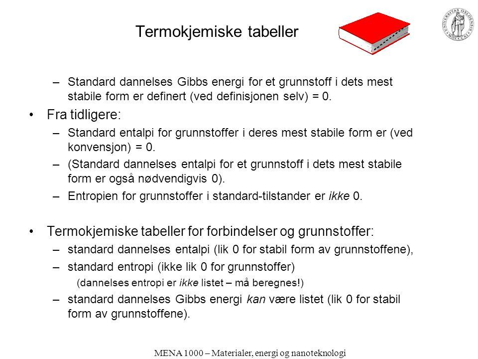 MENA 1000 – Materialer, energi og nanoteknologi Termokjemiske tabeller –Standard dannelses Gibbs energi for et grunnstoff i dets mest stabile form er definert (ved definisjonen selv) = 0.