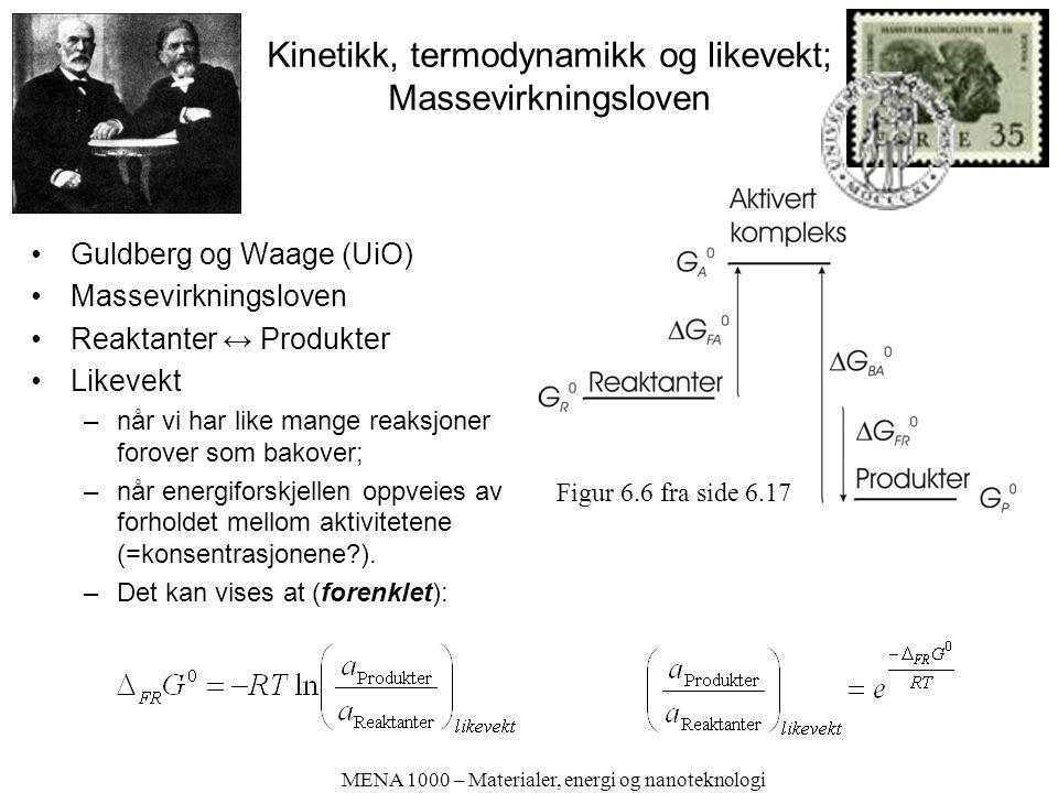Kinetikk, termodynamikk og likevekt; Massevirkningsloven Guldberg og Waage (UiO) Massevirkningsloven Reaktanter ↔ Produkter Likevekt –når vi har like mange reaksjoner forover som bakover; –når energiforskjellen oppveies av forholdet mellom aktivitetene (=konsentrasjonene?).