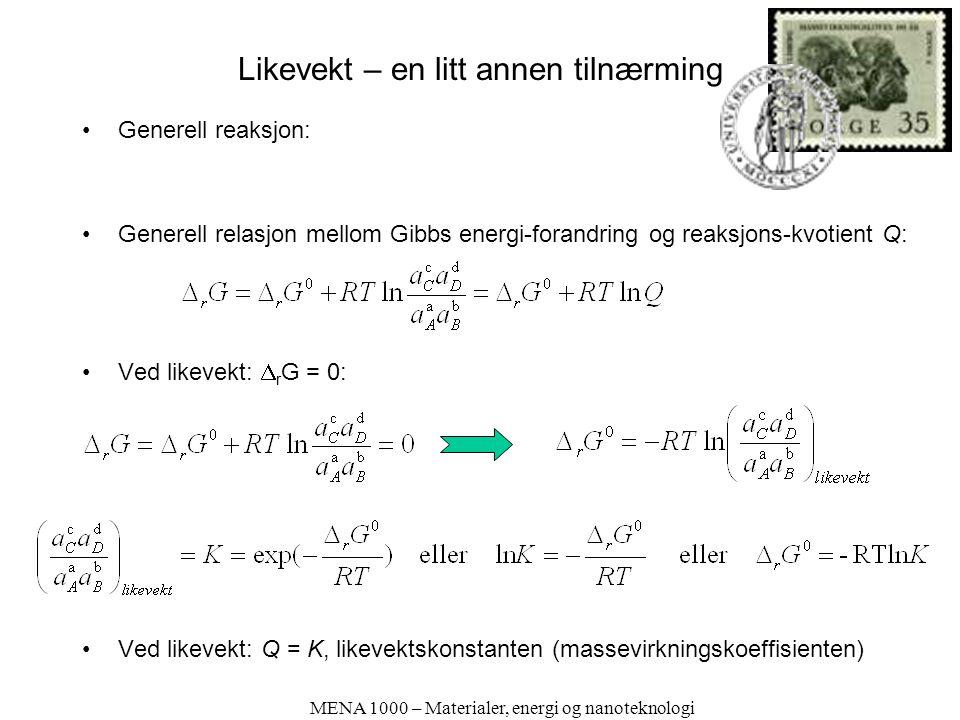 Likevekt – en litt annen tilnærming Generell reaksjon: Generell relasjon mellom Gibbs energi-forandring og reaksjons-kvotient Q: Ved likevekt:  r G = 0: Ved likevekt: Q = K, likevektskonstanten (massevirkningskoeffisienten) MENA 1000 – Materialer, energi og nanoteknologi