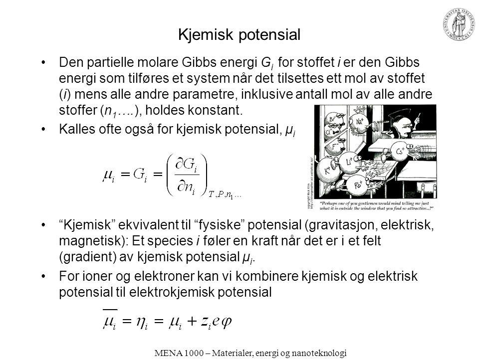MENA 1000 – Materialer, energi og nanoteknologi Kjemisk potensial Den partielle molare Gibbs energi G i for stoffet i er den Gibbs energi som tilføres et system når det tilsettes ett mol av stoffet (i) mens alle andre parametre, inklusive antall mol av alle andre stoffer (n 1 ….), holdes konstant.