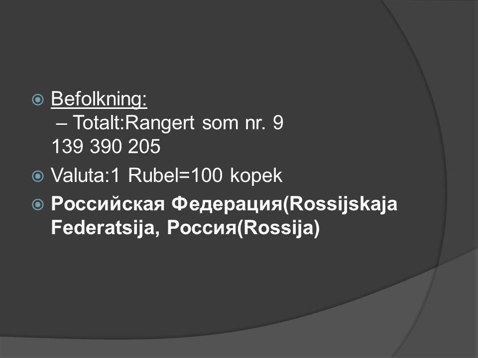  Befolkning: – Totalt:Rangert som nr. 9 139 390 205  Valuta:1 Rubel=100 kopek  Российская Федерация(Rossijskaja Federatsija, Россия(Rossija)