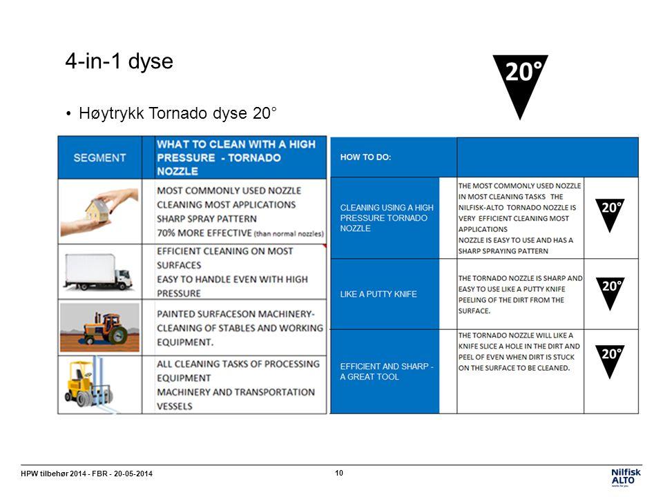 4-in-1 dyse HPW tilbehør 2014 - FBR - 20-05-2014 10 Høytrykk Tornado dyse 20°