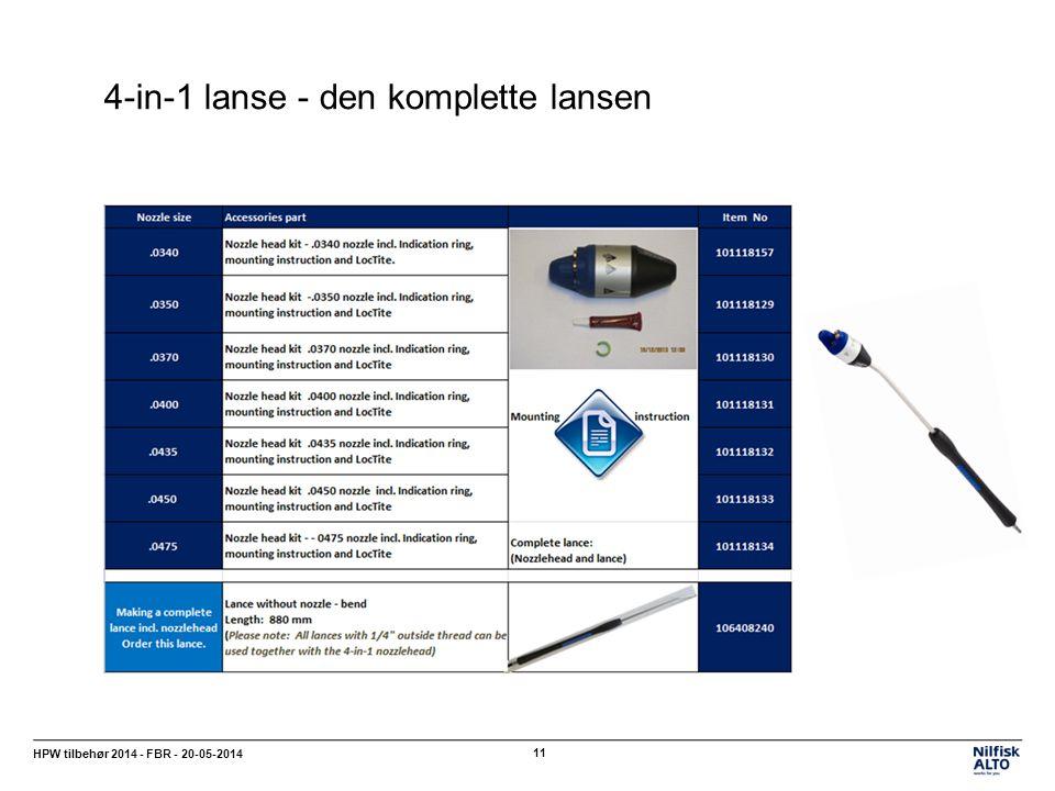 4-in-1 lanse - den komplette lansen HPW tilbehør 2014 - FBR - 20-05-2014 11